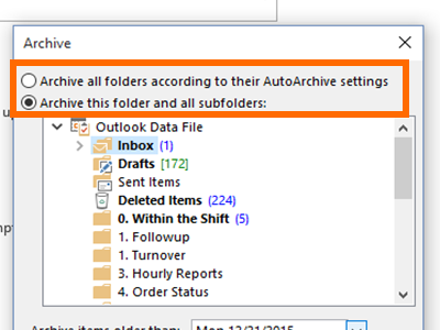 Outlook - File Menu - Info - Cleanup Tools - Archive - Choose Folders