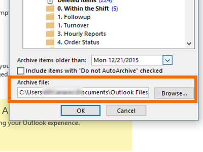 Outlook - File Menu - Info - Cleanup Tools - Archive - Choose Location to save