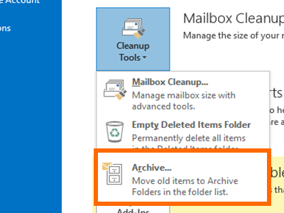 Outlook - File Menu - Info - Cleanup Tools - Archive