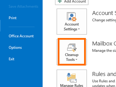 Outlook - File Menu - Info - Cleanup Tools