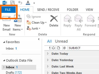 Outlook - File Menu