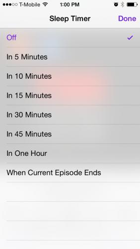 Podcast Sleep Timer iPhone