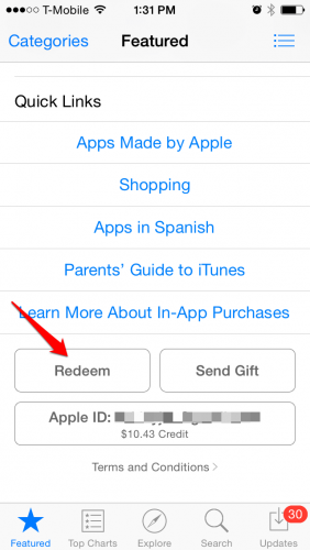 Redeem iTunes Gift Card in App Store