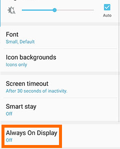 Samsung Galaxy S7 Home screen - Apps - Settings - Device Tab - Display - Always On Display