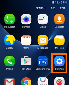 Samsung Galaxy S7 Home screen - Apps - Settings