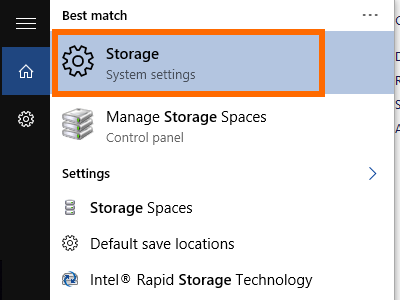Windows Search - Storage - System Storage