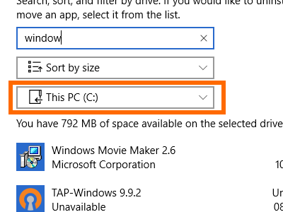 Windows - System - Storage - Drive Details - Apps and Games - Select Drive