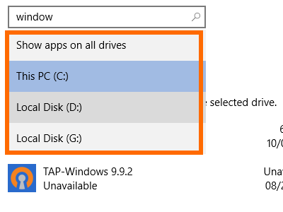 Windows - System - Storage - Drive Details - Apps and Games - Show by Drive