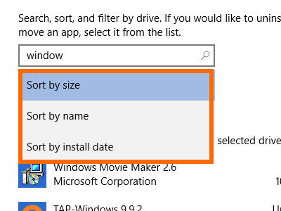 Windows - System - Storage - Drive Details - Apps and Games - Sort by type2