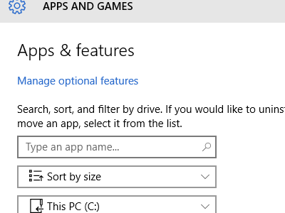 Windows - System - Storage - Drive Details - Apps and Games