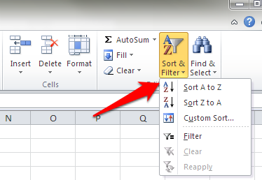 excel sort ribbon