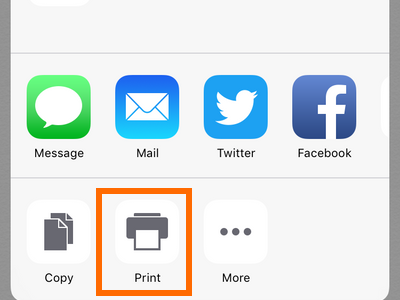 iPhone - Notes - Share button - Print