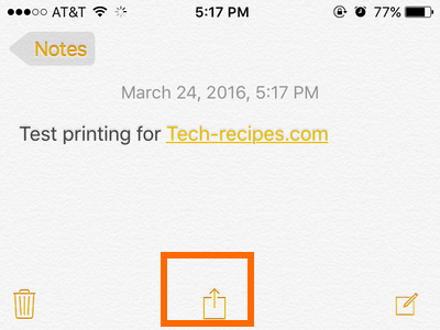 iPhone - Notes - Share button