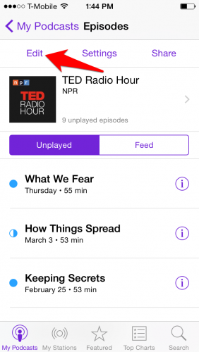 iPhone Podcast Delete Episodes