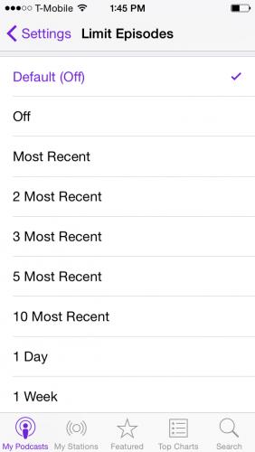 iPhone Podcast Limit Episodes