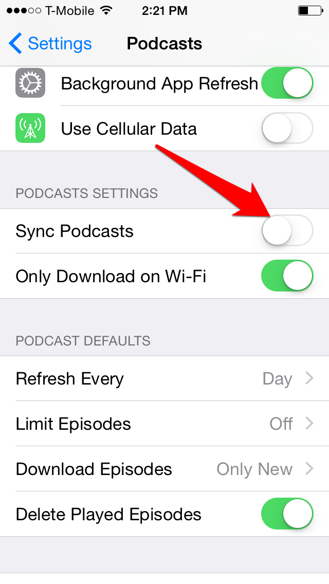 How to Stop Syncing Podcast Episodes