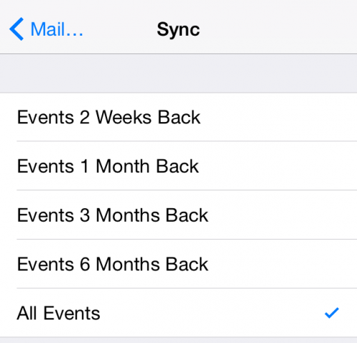 iPhone calendar sync past events