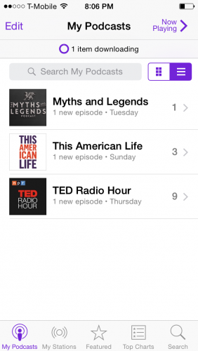 iPhone my podcasts