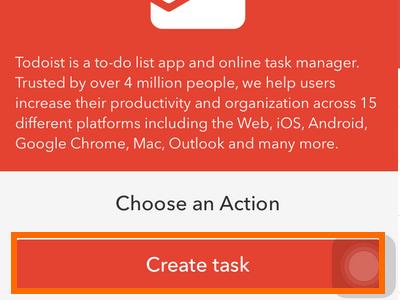 iphone IF action - Todoist create task