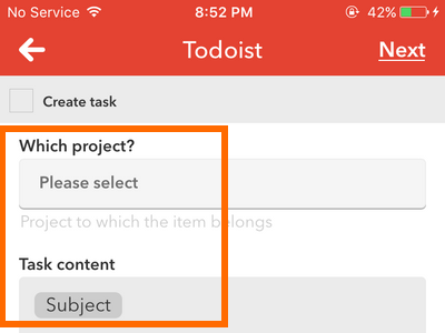 iphone IF action - Todoist task specificis