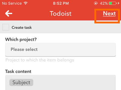 iphone IF action - Todoist task specifics - next