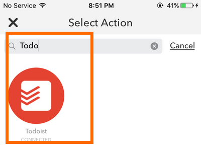 iphone IF action - Todoist
