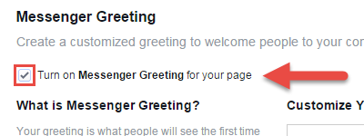 How to greet customers automatically on a facebook page type your greeting in the customize your messenger greeting box options to include the customers first name last name and your website url in the message m4hsunfo