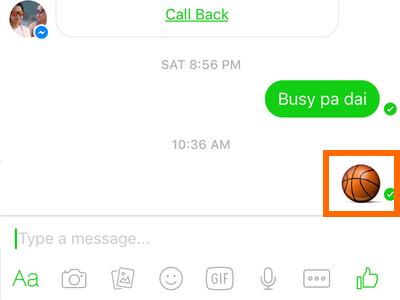 Facebook Messenger icon - message - emoticon list - basketball icon sent