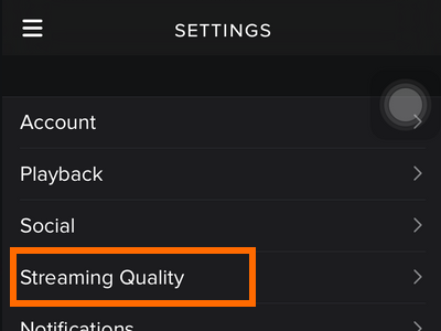 iPhone - Spotify - Settings - Streaming Quality