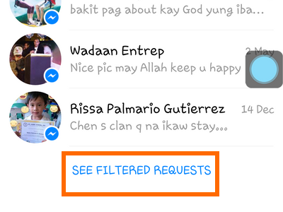Android - Messenger - Message - settings - People - Message Requests - Message - See filtered requests