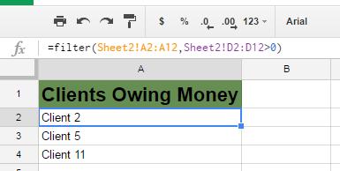 Google Sheets Filter Function Formula