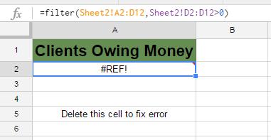 Google Sheets Filter Function #REF! error