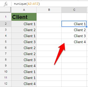 Google Sheets Unique Formula result