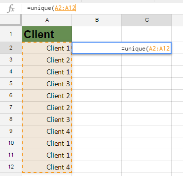 Google Sheets Unique Formula