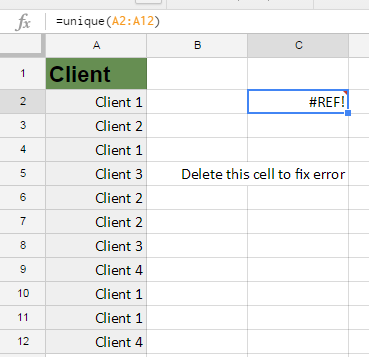 Google Sheets Unique #REF! error
