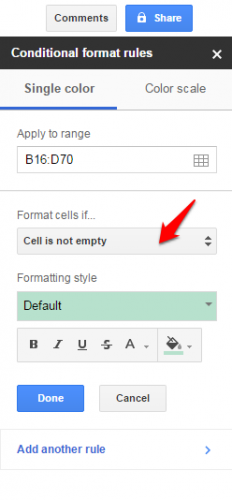 Google Sheets conditional formatting cells not empty