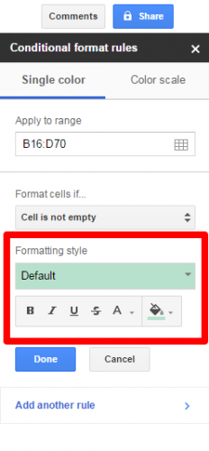Google Sheets conditional formatting color