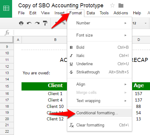 Google Sheets conditional formatting