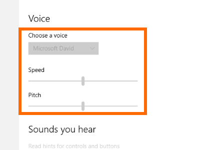 Windows 10 - Start Menu - Settings - Ease of Access - Narrator - Switch - Choose Voice and Pitch