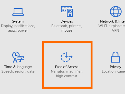 Windows 10 - Start Menu - Settings - Ease of Access