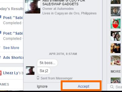 Windows - Facebook - Message - Message Requests - Accept