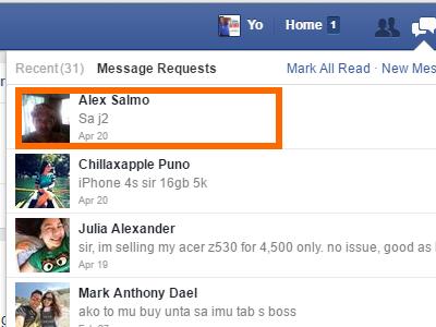 Windows - Facebook - Message - Message Requests - Message