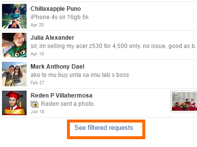Windows - Facebook - Message - Message Requests - See filtered Request