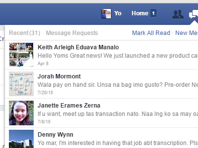Windows - Facebook - Message - Message Requests - filtered messages