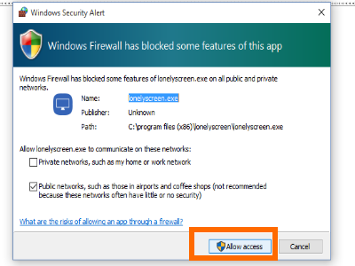 Windows Firewall Access to Lonelyscreen