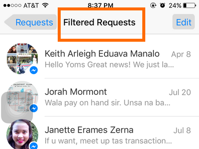 iPhone - Messenger - Messages - Me - People - Requests - Filtered Requests Messages