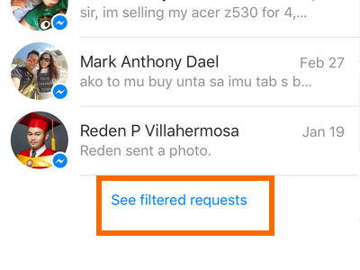 iPhone - Messenger - Messages - Me - People - Requests - Filtered Requests