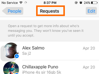 iPhone - Messenger - Messages - Me - People - Requests