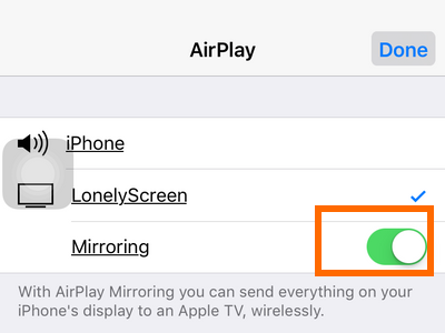 iPhone Settings - Airplay - Lonelyscreen turned On