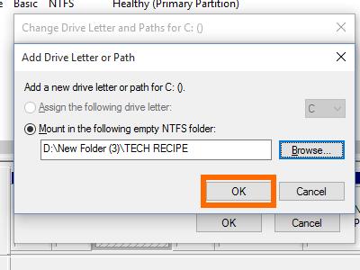 Disk Management - Add - Browse for drives - New Folder -Folder Name -